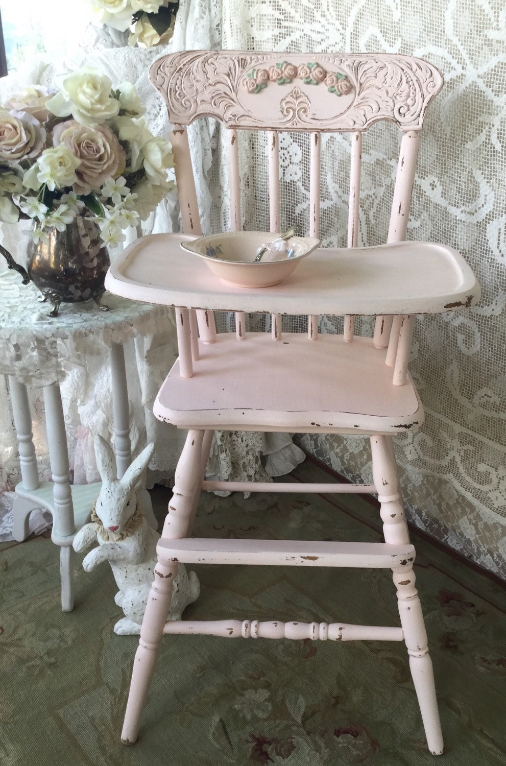 Shabby Pink Vintage High Chair Jenny Lind Pressed Back Baby