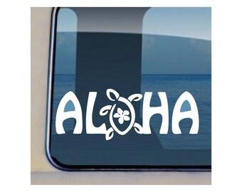 Aloha Turtle Plumeria Decal Hawaiian Sealife Sticker 227