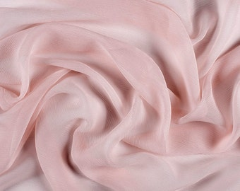 "42"" Wide 100% Silk Crinkled Chiffon Blush Pink by the yard"