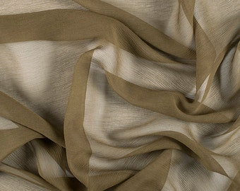 "42"" Wide 100% Silk Crinkled Chiffon Moss Green by the yard"