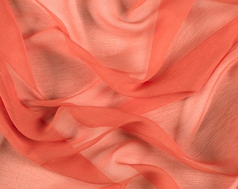 "42"" Wide 100% Silk Crinkled Chiffon Tangerine Orange by the yard"