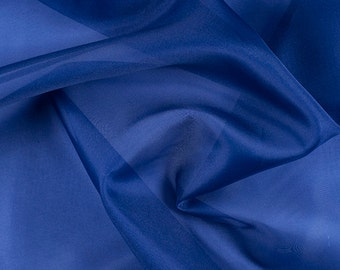 "45"" Wide 100% Silk Organza Blue by the yard"
