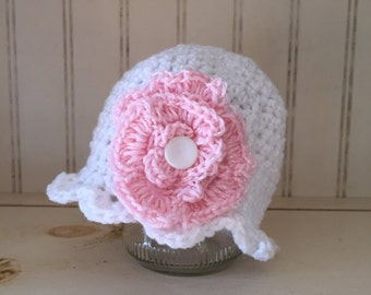 Newborn photo prop ruffled hat w/flower