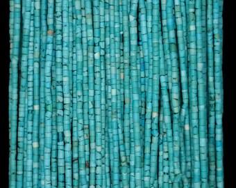 1.5mm Natural Turquoise Gemstone Blue Round Tube Heishi Loose Beads 15 inch Full Strand (90184302-850)