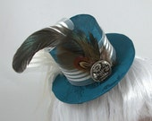 Steampunk Teal Mini Top Hat with silver ribbon and gold glitter holly accent OOAK