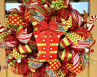 Christmas Deco Mesh Wreath~ Deco Mesh Wreath~ Merry Christmas Wreath