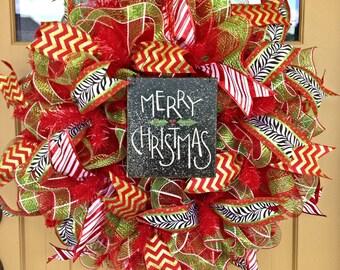 Christmas Wreath~ Merry Christmas~ Deco Mesh Wreath