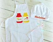 Kids Apron, Ketchup and Mustard, Kids Play and Pretend, Little Cook, Custom embroidery