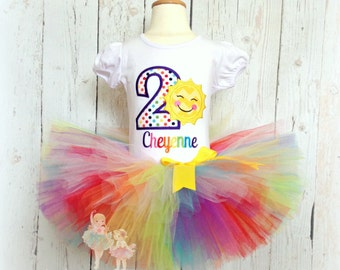 Sun birthday outfit - sunshine birthday outfit - rainbow sunshine birthday - 1st birthday outfit - rainbow tutu - sun birthday tutu outfit