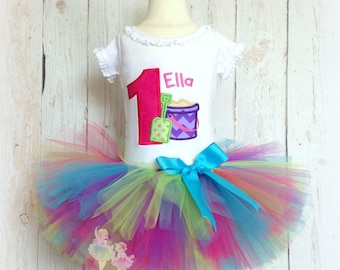 Beach themed birthday outfit for girls - 1st birthday beach tutu outfit - sand pail, sand bucket birthday outfit - summer birthday tutu