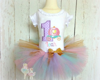 Princess birthday outfit - 1st birthday princess outfit - birthday princess tutu outfit - princess carriage tutu outfit - first birthday