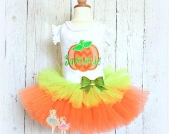 Pumpkin Tutu Outfit- Halloween Pumpkin Costume- Fall- Thanksgiving- Little Pumpkin