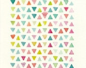 Triangles Abstract Design, Original Watercolor Painting, 8x10, pink, lime, teal, orange, blue