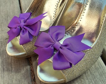 Wedding Shoe Clips, Bridal Shoe Clips, Grosgrain Bow Shoe Clips, Purple Shoe Clips, Purple Bows, Shoe Clips for Wedding Shoes,