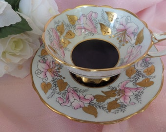 Royal Stafford Tea Cup -- Morning Glory -- English Tea Cup -- Glided Leaves and Trim