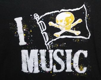 80s 90s I Pirate Music Splash Graphic Tee Shirt T Shirt Screen Print Short Sleeve Size L Cotton