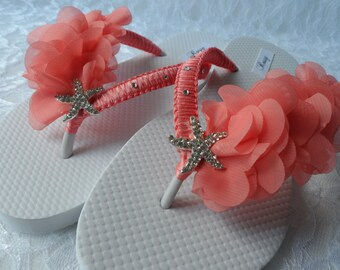 Coral Bridal Flip Flops / Beach Wedding Flip Flops / Rhinestone Flip Flops / Coral Chiffon  Leaf Flip Flops./ Bridesmaids.