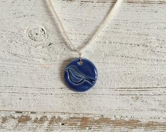 Royal Blue Bird Pendant, Bird Jewelry, Woodland, Bird Lover, Unique Gift, Ceramics, Ceramic Jewelry, Summer