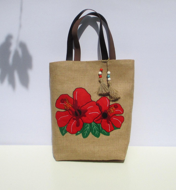 Red hibiscus bright large flower jute tote bag hawaii - Bolsas para decorar ...
