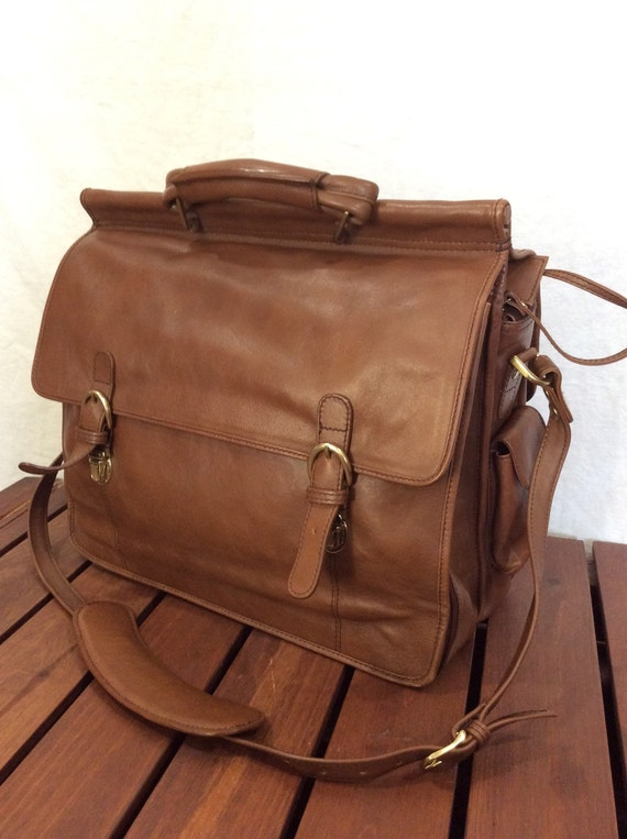 great large vintage hidesign double flap tan leather briefcase