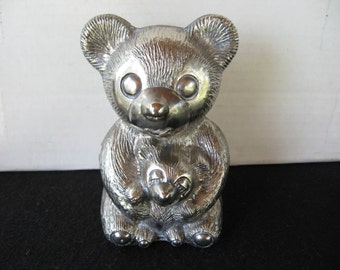 Vintage Silver Toned Teddy Bear with Baby Bank