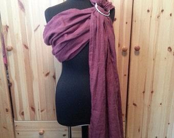 Burgundy Pure Linen Ring Sling Baby Carrier, Gathered Shoulder,SALE