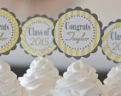 12 - Yellow & Grey Chevron Polka Dot Stripe High School or College Graduation Cupcake or 2 Cake Toppers - Pick Your Colors