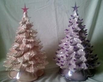 """Custom 13""""-15""""T Full Christmas Tree-Light Kit Base-Ceramic-NEW-Made To Order"""