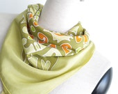 Small square scarf hand painted olive. Green orange neckerchief scarflette. Silk or cotton anniversary gift women men. Summer neck scarves
