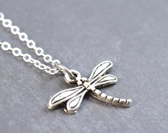 Silver Dragonfly Necklace, Dragonfly Charm, Dragonfly Jewelry, Nature Pendant, Sterling Silver, Dragonfly Pendant, Insect Necklace
