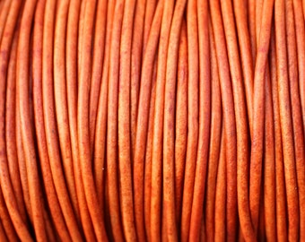 2 Yards Orange Natural Dye Genuine Leather 2mm Round Cord