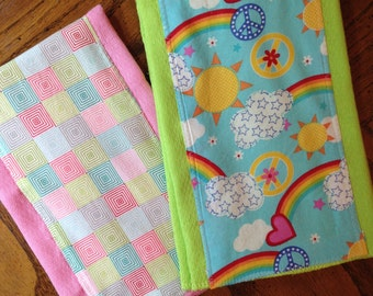 Baby Girl Burp Cloths/Baby burp cloths/Neon Colored Diaper Burp Cloths/Baby Girl shower gift/Baby Shower Gift/Pink Burp Cloths,