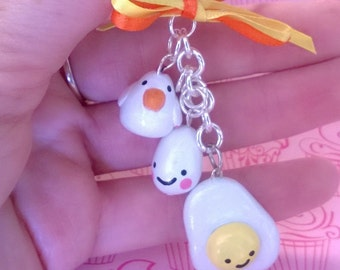 Kawaii Chicken, Egg, and Fried Egg Polymer Clay Charm Keychain Gift Ooak Small Figurine Breakfast Food Animal Cute