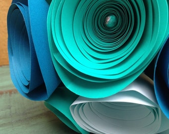 Shades of Teal Paper Rose Bouquet