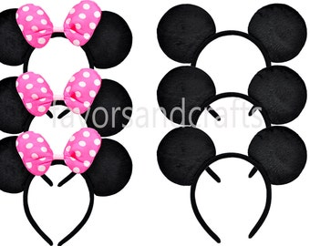 12 PCS Minnie Mouse Ears, Minnie Mouse PINK Bows, Mickey Mouse, Minnie Mouse Ears headband, Minnie Mouse Party Favors, Mouse Ears