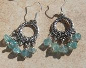 Dangle Earrings, Choose Apatite or Rhodochrosite Crystals, Boho Chic, Trendy, Crystal Earrings, Circle earrings, Inarajewels