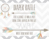 Indian Tribe Baby Welcoming Diaper Raffle Card 3x2 - Boy