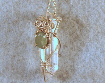 Emerald on Clear Polished Quartz Crystal in Argentium Sterling Silver Wire Wrapped Pendant No. 5 of 500
