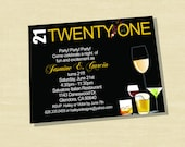 Custom 21st Birthday Invitation with some Cocktails