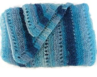 Ombre Blue Shawl - Blue Knit Shawl - Teal Knit Shawl - Blue Wedding Wrap - Teal Wedding Wrap - Blue Prayer Shawl - Teal Prayer Shawl - Shawl