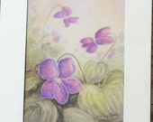 Violet Greeting Card with my matted print that can be framed.  3 1/2 x 5 inch print in a 5x7 inch folded greeting card.