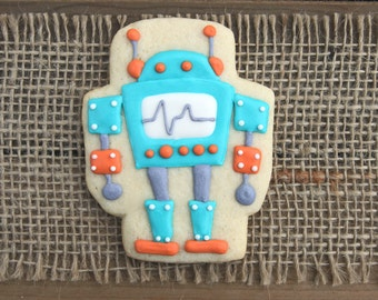 Robot Favors / Robot Birthday Party / Robot Party Favors / Birthday Party Favors / Robot Decorations /  Robot Sugar Cookies - 12 cookies