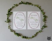 GREEN Floral Wreath Wedding Invitation- Forest Blooms