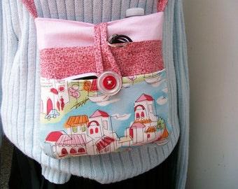 Summer Fun CROSS BODY PURSE Lots of pockets Button Closure Resort Pink Blue cotton - Treasury Item