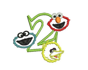 Elmo Applique Embroidery Design, Big Bird Applique, Cookie Monster Applique (239) Instant Download