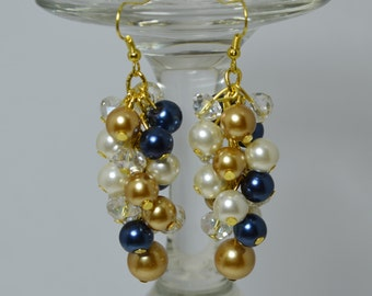Navy, Ivory and Gold Pearl Earrings, Cluster Earrings, bridal pearl earrings, navy cluster earrings, navy pearl earrings, chunky earrings