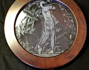 Etched and glue chipped Female Golfer