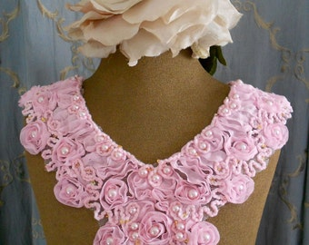 Pink Rosette Pearl Appliques