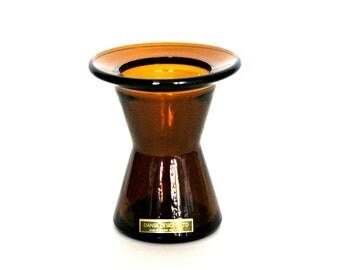 vintage amber Dansk vase/candleholder, mid century modern, amber glass