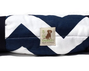 Dog Bed -Navy and White Chevron Travel Bed Roll